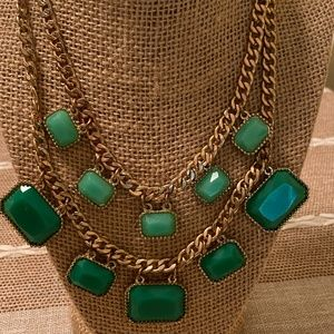 Mika double strand statement necklace gold green